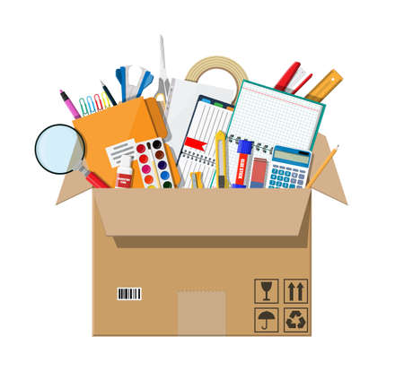 Office accessories in cardboard box. Book, notebook, ruler, knife, folder, pencil, pen, calculator scissors paint tape file. Office supply stationery and education. Vector illustration flat style