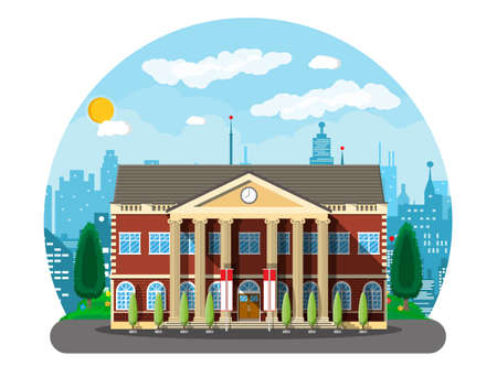 Classical school building and cityscape. Brick facade with clocks. Public educational institution. College or university organization. Tree, clouds, sun. Vector illustration in flat style