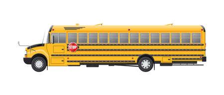 Yellow long classic school bus. Kids riding schoolbus transportation. Education transport. Vector illustraation in flat style