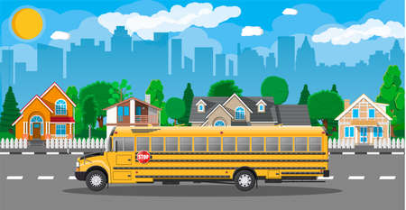 Yellow long classic school bus in city. Kids riding schoolbus transportation. Cityscape, road, buildings, tree, sky and sun. Vector illustration in flat style