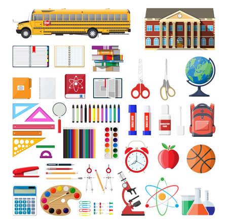 Big school set. Different school supplies, stationery. Note globe paint pencil pen calculator backpack clock scissors ball apple building schoolbus ruler atom. Vector illustration in flat style Illustration