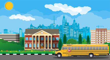 Classical school building and cityscape. Brick facade with clocks. Public educational institution and bus. College or university organization. Tree, clouds, sun. Vector illustration in flat style