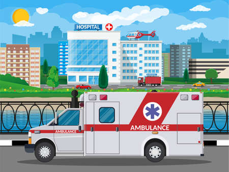 Hospital building medical background. Healthcare hospital and medical diagnostics. Urgency and emergency services. Cityscape road river sky sun tree. Car and helicopter. Vector illustration flat style Ilustração