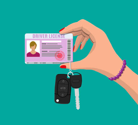 Car driver woman license identification card with photo and car key with alarm in hand. Driver license vehicle identity document. Stamp, barcode, plastic id card. Vector illustration in flat style