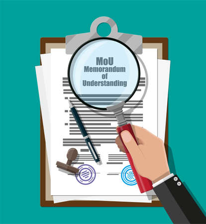 Hand of lawyer with magnifying glass checks memorandum of understanding document. Mou legal papers. Research documents. Contract agreement paper blank with seal, pen. Vector illustration in flat style