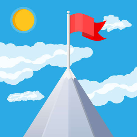 Flag on peak of mountain. Business success, target, triumph, goal or achievement. Winning of competition. Rocky mountains, sky with clouds and sun. Vector illustration in flat style. Illustration