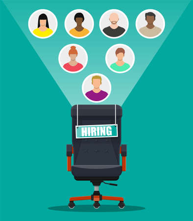 Office chair and sign vacancy. Hiring and recruiting. Human resources management concept, searching professional staff, work. Found right resume. Vector illustration in flat style