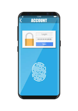 Smartphone unlocked by fingerprint sensor. Mobile phone security, personal access via finger, login form into account managment, authorization, network protection. Vector illustration flat