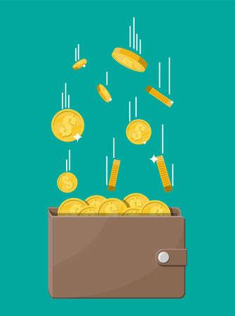 Fallende Goldmünzen und Ledergeldbörse. Geld Regen. Goldene Münzen mit Dollarzeichen. Wachstum, Einkommen, Ersparnisse, Investitionen. Symbol des Reichtums. Geschäftlicher Erfolg. Flache Artvektorillustration.