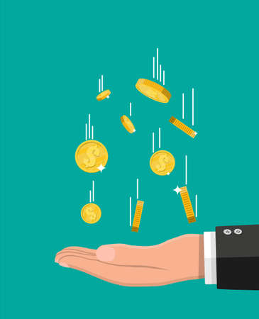 Falling gold coins and hand. Money rain. Golden coins with dollar sign. Growth, income, savings, investment. Symbol of wealth. Business success. Flat style vector illustration.