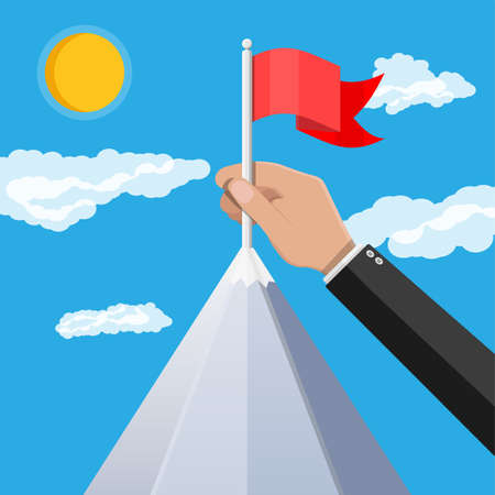Businessman hand puts flag on peak of mountain. Business success, target, triumph, goal or achievement. Winning of competition. Rocky mountains, sky with clouds and sun. Vector illustration flat style
