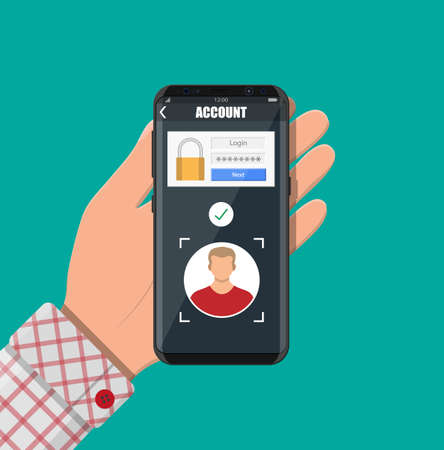 Hands with smartphone unlocked by face recognition. Mobile phone security, personal access via finger, login form into account managment, authorization, network protection. Vector illustration flat