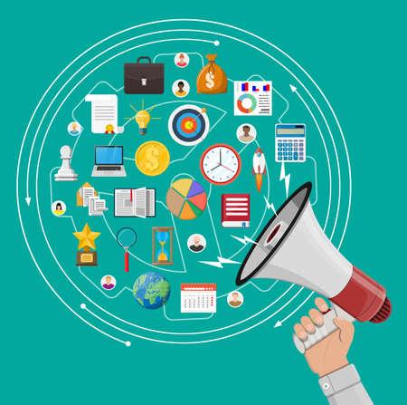 Haut-parleur ou mégaphone en main et différentes icônes. Marketing numérique, médias sociaux, réseau. Élément d'annonce. Illustration vectorielle dans un style plat