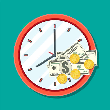 Clock, dollar banknotes and golden coins. Annual revenue, financial investment, savings, bank deposit, future income, money benefit. Time is money concept. Vector illustration in flat style Illustration