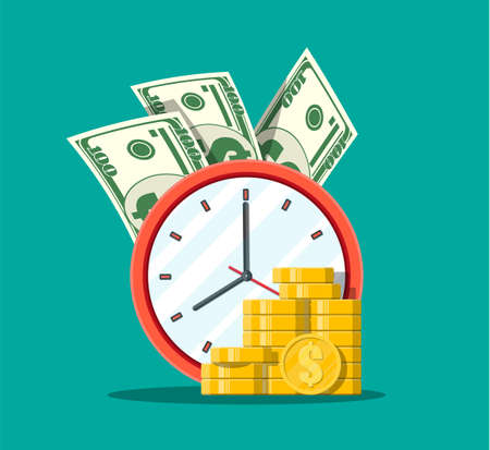 Clock, dollar banknotes and golden coins. Annual revenue, financial investment, savings, bank deposit, future income, money benefit. Time is money concept. Vector illustration in flat style 向量圖像