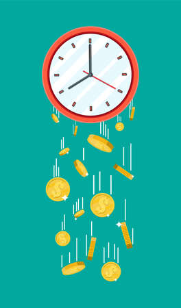 Golden coins falling from clocks. Overspending, losing, bankruptcy, devalue, deficit, losing money. Time is money concept. Vector illustration in flat style