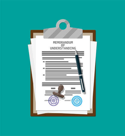 Clipboard with memorandum of understanding document. Mou legal papers. Contract agreement paper blank with seal. Ballpoint pen. Vector illustration in flat style