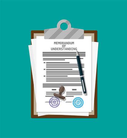 Zwischenablage mit Memorandum of Understanding Dokument. Mou juristische Papiere. Vertragsvertragspapier leer mit Siegel. Kugelschreiber. Vektorillustration im flachen Stil