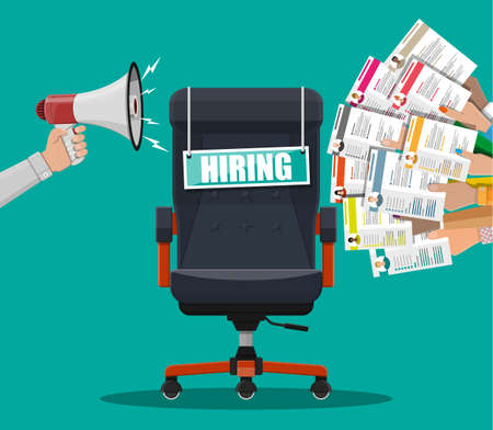 Office chair, sign vacancy. Loudspeaker or megaphone. Hiring and recruiting. Human resources management concept, searching professional staff, work. Found right resume. Vector illustration flat style