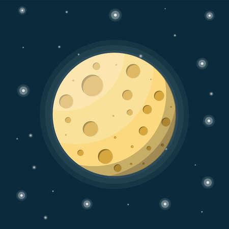 Vollmond am Nachthimmel mit Sternen. Mondsatellit der Erde mit Kratern. Astronomie, Wissenschaft, Natur. Weltraumforschung. Vektorillustration im flachen Stil Vektorgrafik