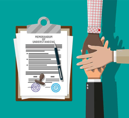 People showing unity with their hands together. Crossed hands and memorandum of understanding mou agreement paper. Business team work cooperation and partnership. Vector illustration flat style