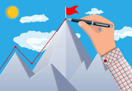 Businessman hand with pen draws line up. Flag on peak of mountain. Business success, target, triumph, goal achievement. Winning of competition. Rocky mountain sun sky. Vector illustration flat style