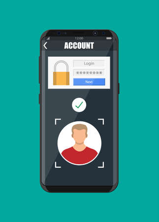 Smartphone unlocked by face recognition. Mobile phone security, personal access via finger, login form into account managment, authorization, network protection. Vector illustration flat