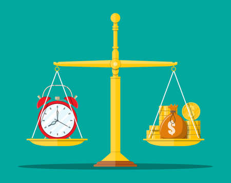 Clock and golden coins on scales. Annual revenue, financial investment, savings, bank deposit, future income, money benefit. Time is money concept. Vector illustration in flat style