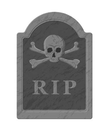 Tombstone with skull and crossed bones. Old gravestone with cracks and R.I.P inscription. Cemetery, death, funeral, grave. Vector illustration in flat style