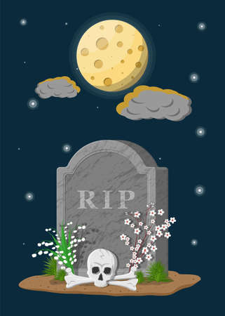 Tombstone with skull and crossed bones. Old gravestone with cracks and R.I.P inscription. Flowers, moon, stars and clouds. Cemetery, death, funeral, grave. Vector illustration in flat style Иллюстрация