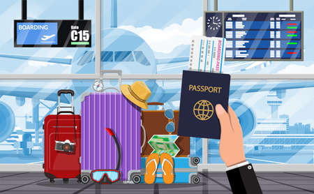 International airport. Hand of traveler with passport. Travel suitcase. Plane before takeoff. Airport control tower terminal building cityscape. Sky with clouds and sun. Vector illustration flat style Иллюстрация