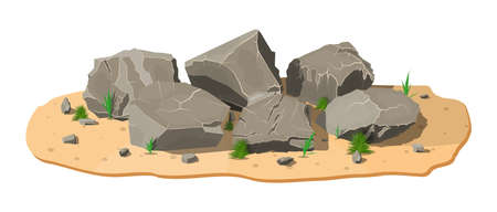 Pile of rock stone with grass on sand. Stones and rocks in variuos sizes. Set of different boulders. Vector illustration in flat style