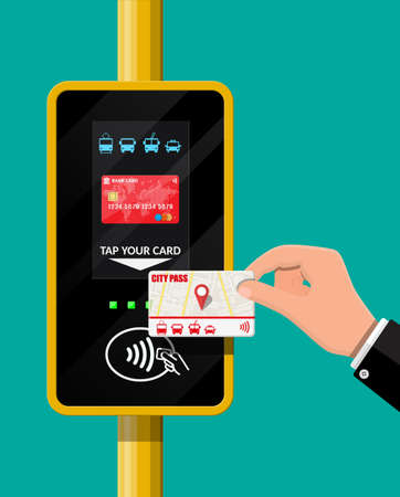 Terminal and passenger transport card in hand. Illustration