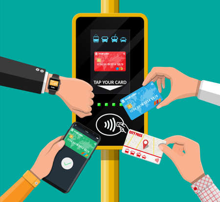 Airport, metro, bus, subway ticket validator. Illustration