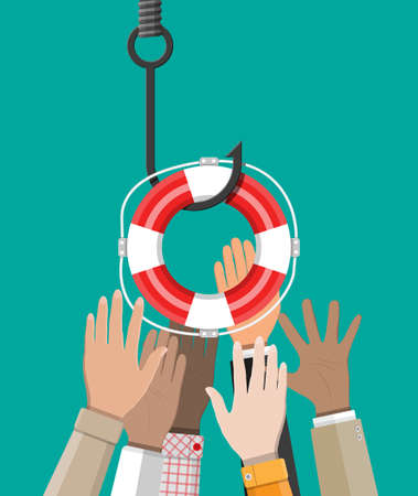 Fishing hook with lifebuoy and hands. Trap on hook. Losing, bankruptcy, devalue, deficit, fraud,crime and lie. Vector illustration in flat style