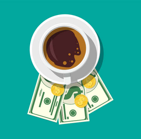 Cup with coffee, cash and coins. Thanks for the service in the restaurant. Money for servicing. Good feedback about the waiter. Gratuity concept. Vector illustration in flat style