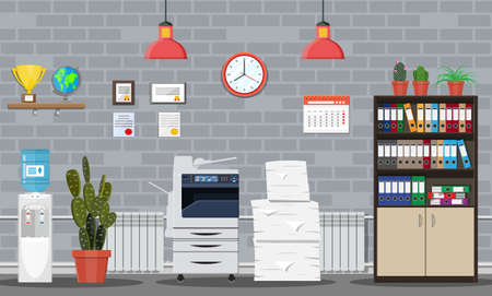 Pile of paper documents and printer. Office building interior. Pile of papers. Office documents heap. Routine, bureaucracy, big data, paperwork, office. Vector illustration in flat style Illustration
