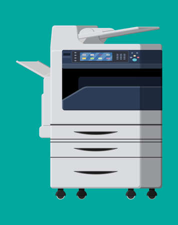 Office multifunction machine. Printer copy scanner device. Proffesional printing station. Vector illustration in flat style