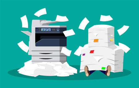 Office multifunction machine. Pile of paper documents. Bureaucracy, paperwork, overwork, office. Printer copy scanner device. Proffesional printing station. Vector illustration in flat style