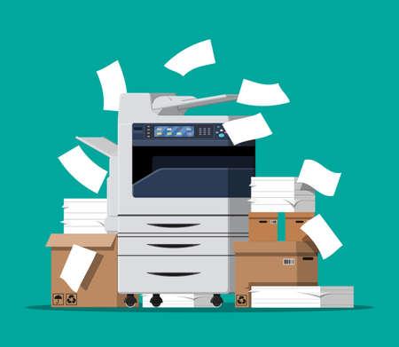 Multifunktionsgerät für das Büro. Stapel von Papierdokumenten, Schachteln und Ordnern. Bürokratie, Papierkram, Büro. Kopiergerät für Druckerkopien. Professionelle Druckstation. Vektorillustration im flachen Stil