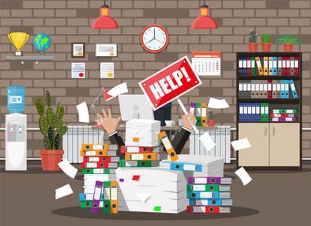 Stressed businessman under pile of office papers and documents. Office building interior. Office documents heap. Routine, bureaucracy, big data, paperwork, office. Vector illustration in flat style