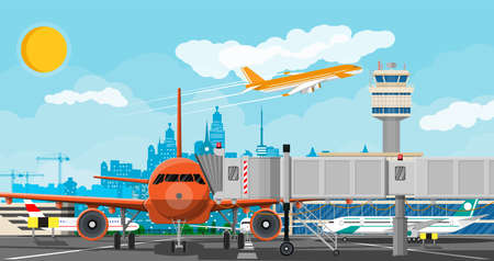 Plane before takeoff. Airport control tower, jetway, terminal building and parking area. Cityscape. Sky with clouds and sun. Vector illustration in flat style