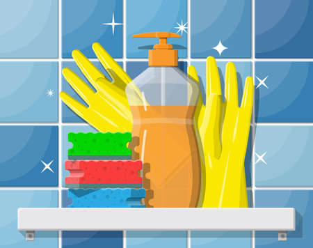 Bottle of detergent, sponge and rubber gloves. Accessories for washing dishes and house cleaning.