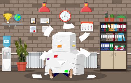 Homme d'affaires stressé sous une pile de papiers et de documents de bureau. Intérieur de l'immeuble de bureaux. Tas de documents de bureau. Routine, bureaucratie, big data, paperasse, bureau. Illustration vectorielle dans un style plat