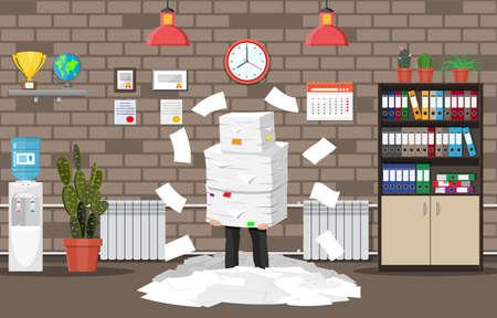 Gestresster Geschäftsmann unter einem Stapel von Büropapieren und Dokumenten. Inneneinrichtung des Bürogebäudes. Office-Dokumente Haufen. Routine, Bürokratie, Big Data, Papierkram, Büro. Vektorillustration im flachen Stil Vektorgrafik