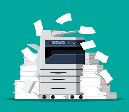 Office multifunction machine. Pile of paper documents. Bureaucracy, paperwork, chaos in office. Printer copy scanner device. Proffesional printing station. Vector illustration in flat style