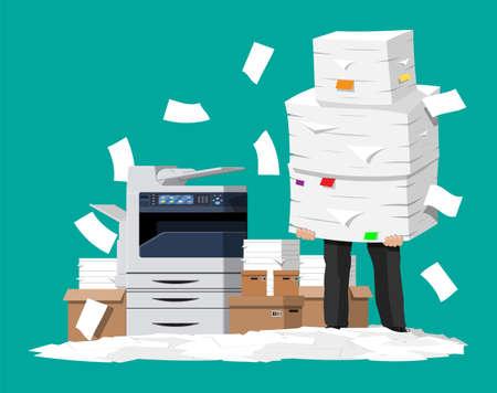 Geschäftsmann im Stapel von Papieren. Multifunktionsgerät für das Büro. Bürokratie, Papierkram, Überarbeitung, Büro. Kopiergerät für Druckerkopien. Professionelle Druckstation. Flacher Stil der Vektorillustration?