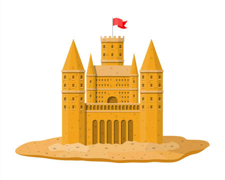 Sand castle. Sandcastle handmade sculpture. Fortress with towers. Fort with gates and flag. Kids children leisure fun game. Kids playground. Vector illustration in flat style
