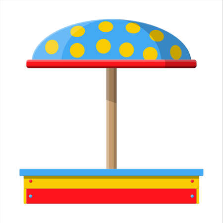 Wooden childrens sandbox for games. Sandbox icon with seats and roof mushroom. Kids playground. Vector illustration in flat style