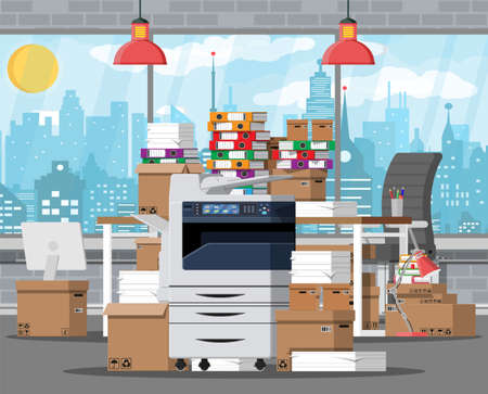 Pile of paper documents and file folders on office table. Big printer. Carton boxes. Bureaucracy, paperwork, office relocation. Chair, desk, lamp. Cityscape. Vector illustration in flat style